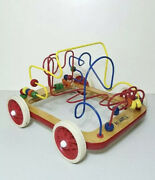 Vintage Anatex Roller Coaster Bead Maze Car On Wheels Activity Wooden Toy