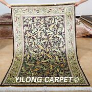 Yilong 4and039x6and039 Classic Silk Rugs Handmade Indoor Carpet Oriental Hand-knotted 0680
