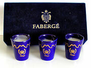 Faberge Candle Votives Cobalt 2 1/2 Set Of 3 New In Box