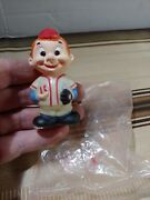 Vintage New Old Stock Celluloid Hong Kong Toy Baseball Player Boy 60s Red Head