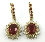 Oval Ruby And Diamond Halo Drop Snap Ladyand039s Earrings 14k Yellow Gold 10.60ct