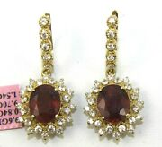Oval Ruby White Sapphire And Diamond Drop Ladyand039s Earrings 14k Yellow Gold 12.08ct
