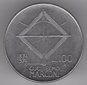 Italy 100 Lire 1974 Stainless Steel Coin - Guglielmo Maeconi