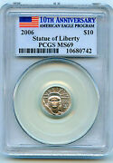 2006 Platinum 10 American Eagle Pcgs Ms-69. Low Mintage And Key Date Of Series