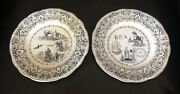 """Two 19th Century French Antique Collectible Rebus Riddle Plate Gien 8"""" Rare"""