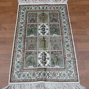 Yilong 2.5and039x4and039 Hand Knotted Classic Carpets Silk Handmade Four Seasons Rug 372b