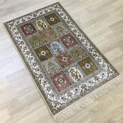 Yilong 2.5and039x4and039 Four Seasons Handmade Rug Beige Hand Knotted Silk Carpet 161a