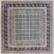 10and039 Square Antiqued Pazyryk Historical Design Hand Knotted Wool Rug - P7886