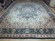 9' X 12' Vintage Fine Hand Made Chinese Allover Oriental Wool Rug Ivory Black