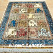 Yilong 4and039x6and039 Classic Silk Rugs Handmade Carpets Blue Four Seasons Knotted 0675