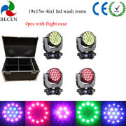 4pcs Road Case 19x15w Led Zoom Moving Head Mac Aura Dmx512 Led Dj Stage Lights