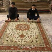 Clearance Yilong 6and039x9and039 Medium Hand Knotted Wool Carpet Porch Handcraft Rug 1432