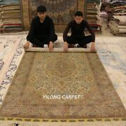 Yilong 5and039x8and039 Vintage Hand Knotted Silk Carpet Traditional Golden Area Rugs 1004