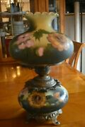 Antique Vintage Gwtw Hurricane Gone With The Wind Lamp Handpainted Green Flowers