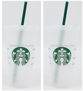 20 Pack Starbucks Reusable Plastic 24oz Cold Cup Venti Size With Lids And Straws