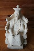Carved Statue Figurines Emperor Chinese 10.5 Large Ivory Colored Resin Vintage