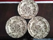 3 Antique 1800and039s Andnbspwedgwood Aster Brown Transferware 9 Plates