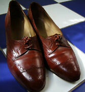 Seldom Found Vtg Wwii 1940and039s Brown Womans Wingtip Shoes Low Chunky Heel 8