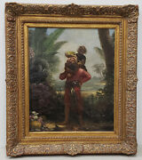 Sinbad With The Old Man Of The Sea On His Back Original Illustration 19th C.