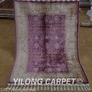 Yilong 3.5'x5' Purple All Over Handmade Silk Area Rugs Carpets Hand Knotted 1767