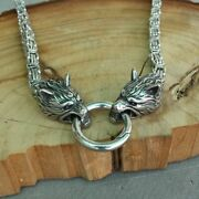 Cool Real Steel Necklace Wolf Head Chain Vintage Men Fashion Jewelry Gift