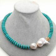20 Freshwater Cultured White Keshi Pearl Blue Disc Turquoise Necklace