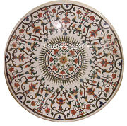 36 White Marble Top Dining Table Floral Inlay Marquetry Arts Home Decors H3045