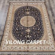 Yilong 6and039x9and039 Hand Knotted Area Rug Blue Vintage Handmade Silk Art Carpet W304c