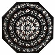 42'' Black Marble Side Dining Table Top Mother Of Pearl Garden Inlay Decor H3544