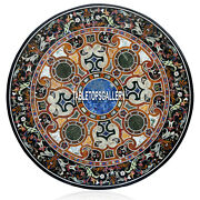 48and039and039 Black Marble Dining Side Table Top Multi Inlay Pietra Dura Decors H3939a