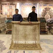 Yilong 4.5and039x6.5and039 Nice Golden Handmade Carpet Antique Hand Knotted Silk Rug Zz055
