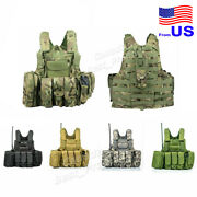 Tactical Vest Military Molle Adjustable Combat Plate Carrier With Mag Pouch Usa