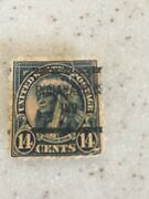 American Indian 14 Cent Stamp Indianapolis Indiana Unusual Stamping