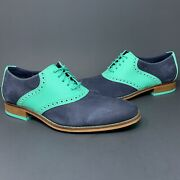 Cole Haan Air Colton Saddle Wing Tip Bottle Green Suede Men's Size 7.5 M C11321