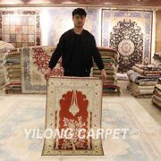 Yilong 2.5and039x4and039 Red Handmade For Prayer Rugs Nice Hand Knotted Silk Carpets L141a