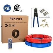 Pex Pipe Combo2 Rolls 1/2 X 100ft Red Andblue Crimper Cutter Clamps Fittings