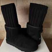 Ugg X Sacai Knit Classic Mini Short Ii Black Suede Boots Size 11 Womens Limited