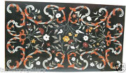2and039x4and039 Marble Dining Table Top Gems Mosaic Pietra Dure Inlay Home Decor H2004