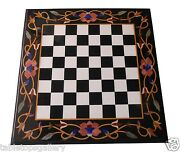 3and039x3and039 Black Marble Dining Chess Table Top Jasper Inlay Mosaic Home Decor H1545