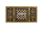 Marble Rectangle Table Top Chess Inlay Exclusive Design Garden Home Decor H4012a