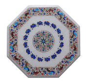 22 White Marble Center Coffee Table Top Elephant Inlay Marquetry Deco Gift H036