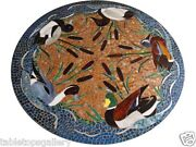 3and039x3and039 Black Marble Center Coffee Table Top Mosaic Ducks Inlay Mosaic Decor H1543