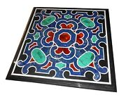 3and039x3and039 Black Marble Dining Square Table Top Marquetry Inaly Mosaic Decor H1562