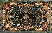 4and039x2and039 Green Marble Dining Table Top Marquetry Inlay Gems Mosaic Home Decor H1631