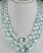 Natural Untreated Aquamarine Faceted Tumble Beads 3 Line 914 Carats Gem Necklace
