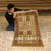 Yilong 2.5and039x4and039 Four Seasons Hand-knotted Area Carpet Pure Silk Handmade Rug 089b
