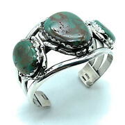 Vintage 1960and039s Navajo Heavy Gauge Split Shank Sterling Silver And Turquoise Cuff