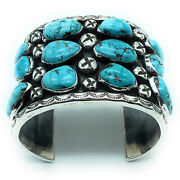 Vintage 1960's Navajo Sterling Silver And Morenci Turquoise Wide Cuff Bracelet