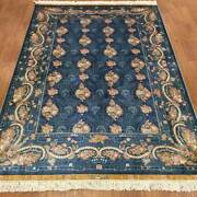 Yilong 4.5and039x6.5and039 Blue Handmade Carpet Quality Hand Knotted Silk Rug Sale Zz057