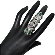 Emerald Sterling Silver 3.2ct Diamond Pave 14k Gold Vintage Look Knuckle Ring Py